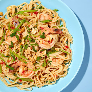 Udon Noodles with Shrimp, Snow Peas, and Peanuts recipe | Epicurious.com.