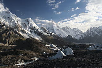 Photo: Masherbrum (7821m), the 22nd highest mountain in the world from Goro camp on the Baltoro glacier. We had been waiting all day for the clouds to reveal its summit and were finally rewarded.
