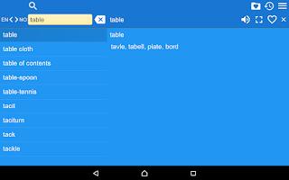 Screenshot of English Norwegian Dictionary