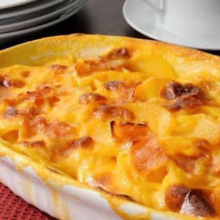Cheesy Scalloped Potatoes and Ham Casserole.