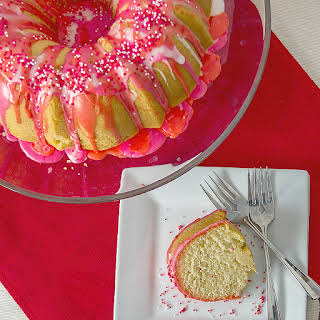 Valentine Bundt Cake with Cherry Vanilla Frosting.