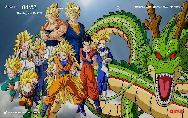 Dragon Ball Z New Tab Hd Background Theme