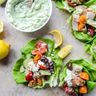 30 Minute Greek Chicken Lettuce Cups with Avocado Tzatziki
