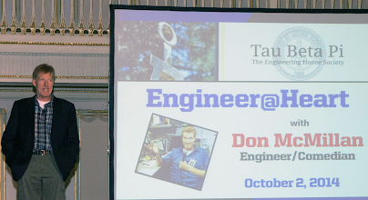 Photo: Comedian/Engineer Don McMillan (PA A '81) performs his Engineer@Heart show.