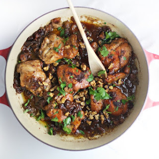 Date and Cherry Braised Chicken with Spiced Walnuts.
