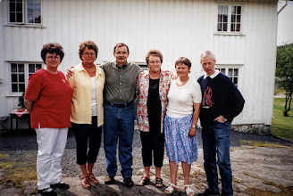 """Photo: In 2000 Julane, Phoebe and I traveled to Norway to visit my relatives and tour around. We attended a """"Stenersen family reunion"""" during our stay in Risor with Ingvar and Anlaug Stenersen. Ingvar and I share a paternal great grandfather. His grandfather was brother to my paternal grandmother and two sisters who emigrated to NY in the early 20th century. All the folks in this photo are my cousins."""
