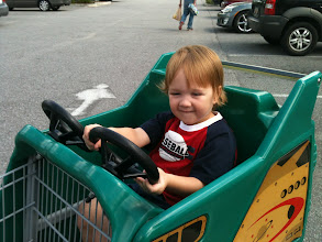 Photo: Got my baby with me today. Good thing the car cart was available to avoid tantrums.
