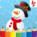 Christmas coloring book for kids icon