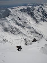 Photo: Wow, look how far we've come! The Linda's crevasses far below Sean and Bill.