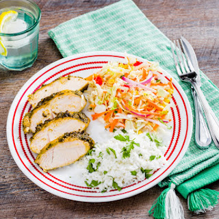 Poblano Roasted Turkey Tenderloins with Mexican Slaw.
