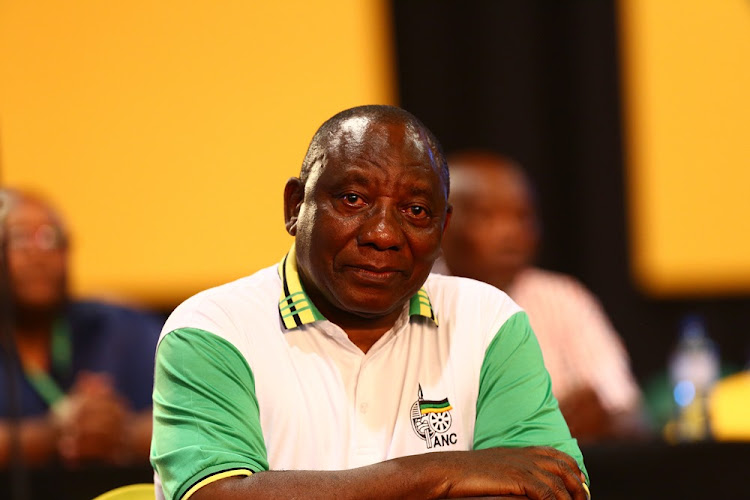 An emotional Cyril Ramaphosa after being announced as the new ANC president during the 54th ANC national elective conference in Johannesburg. Picture: MASI LOSI