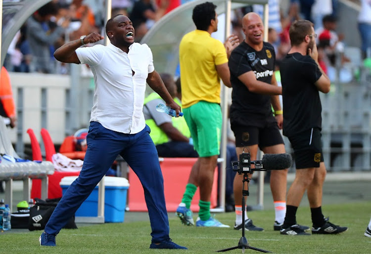 Benni McCarthy, head coach of Cape Town City reacts in celebration after the goal during the Absa Premiership 2017/18 football match between Cape Town City FC and Ajax Cape Town at Cape Town Stadium, Cape Town on 20 January 2018.