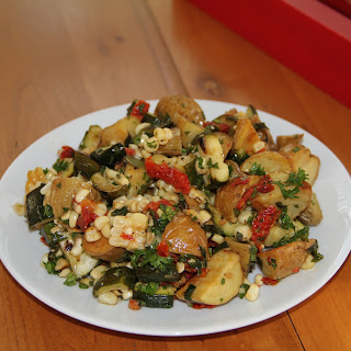 Roasted Potato Salad with Grilled Zucchini, Corn and Sun-Dried Tomato