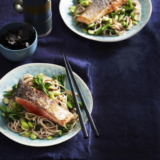 Miso Salmon with Broccoli, Edamame and Soba Noodles