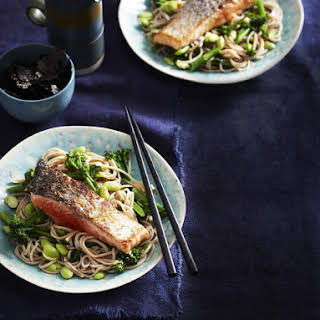 Miso Salmon with Broccoli, Edamame and Soba Noodles.
