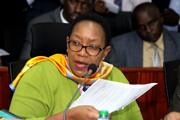 Outgoing Health CS Sicily Kariuki when she appeared before the MES ad Hoc committee last year on October 17.