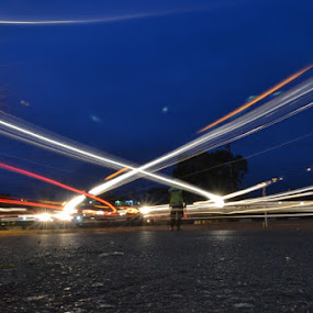 A line that crosses by Rizki Mayendra - City,  Street & Park  Street Scenes ( light painting )