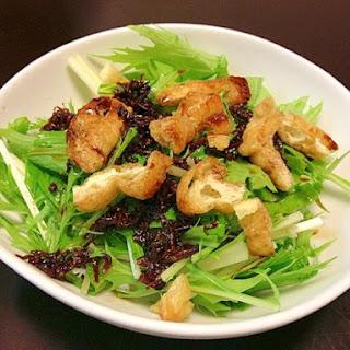 Kyoto-Style Salad with Mizuna, Crunchy Aburaage Tofu and Dried Young Sardines