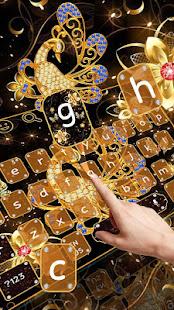 Golden Peacock Diamond Keyboard Theme