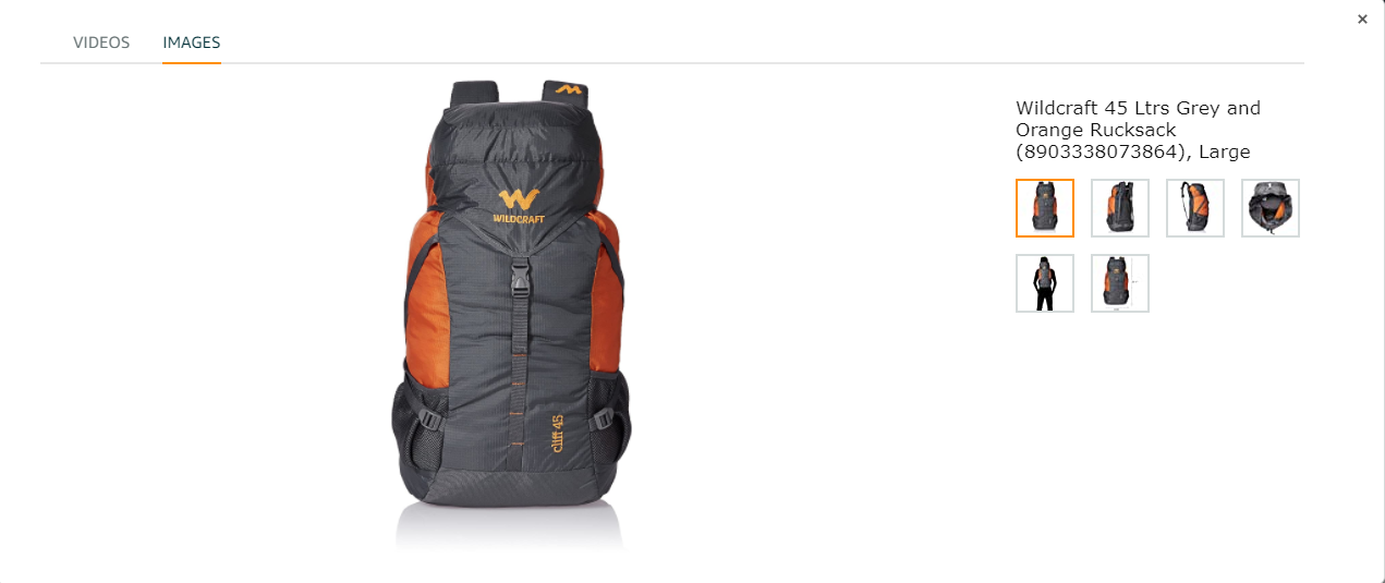 backpack product images on amazon listing