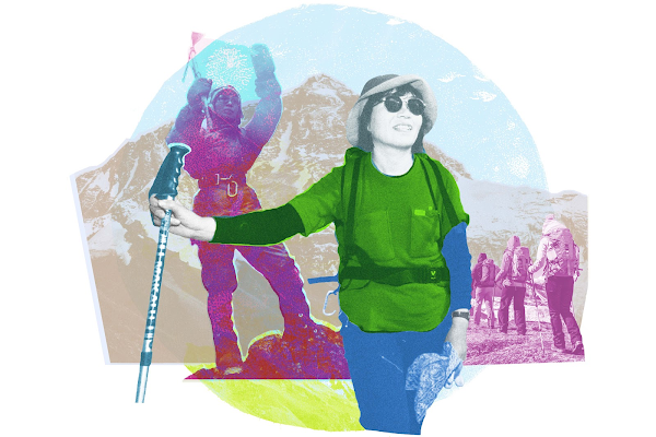 A collage of the mountaineer, Junko Tabei, in her hiking gear on the mountainside.