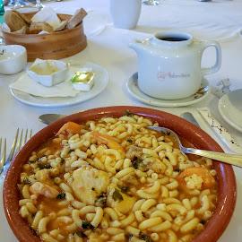 Monk-aroni by Anita Elder - Food & Drink Plated Food ( macaroni, pasta, portugal, monkfish, prawns, food )