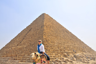 Photo: Jeanette on her camel in front of Pyramid of Menkaure