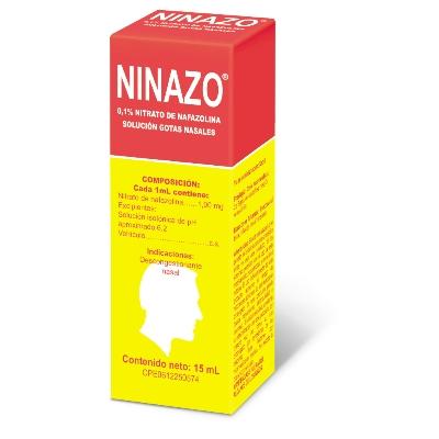 Nitrato De Nafazolina Ninazo Solucion Gotas Nasales Adulto 0,1% X 15 Ml