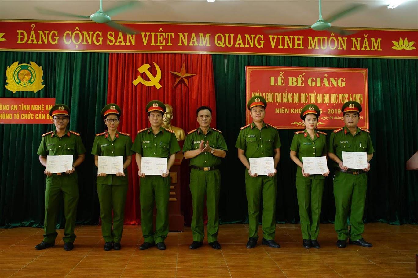 3.Đồng chí Đại tá Lê Quang Hải tặng giấy khen cho các học viên đạt thành tích xuất sắc trong học tập.
