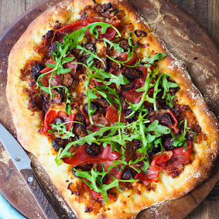 Caramelized Onion Flatbread with Prosciutto and Figs.
