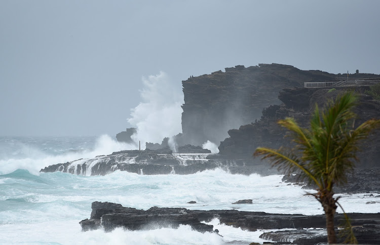 Large waves crash against the shoreline on the east side of Oahu as Hurricane Lane approaches Honolulu, Hawaii, U.S. August 24, 2018.