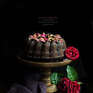 Chocolate Coffee Cake Topped with Dried Rose Petals