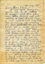Photo: NavCAD Patrick Alonzo Tillery letter home from flight school 1 of 3 22 July 1954