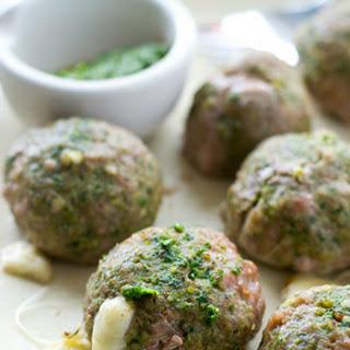 Cheese-Stuffed Pesto Turkey Meatballs.