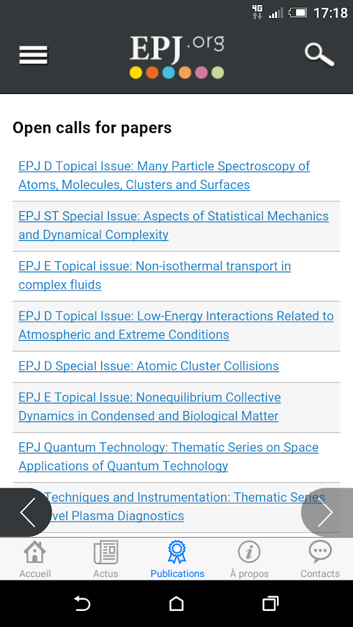 EPJ.org- screenshot