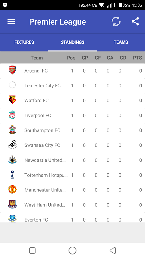 EPL 2017-18 Fixtures- screenshot