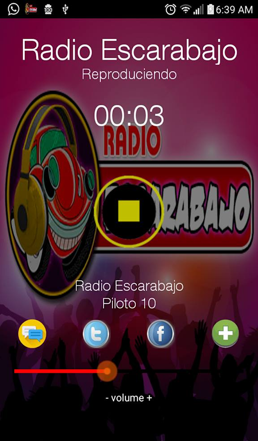 Radio Escarabajo: captura de pantalla