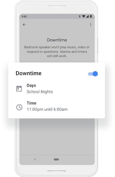 A Google phone screen that shows Downtime getting turned on to work during School Night days from 11:00pm to 6:00am.
