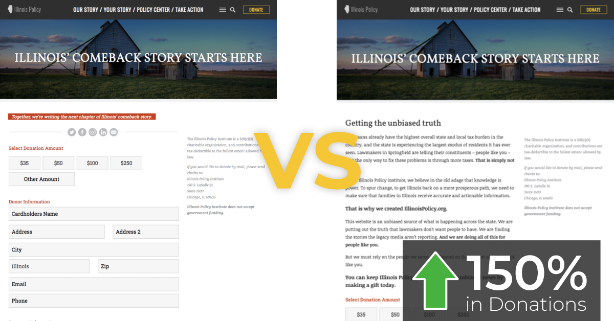example of donation page with and without more copy.