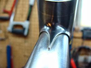 Photo: Pointy top tube lug point.