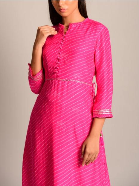 Pink Leheriya Anarkali Kurti