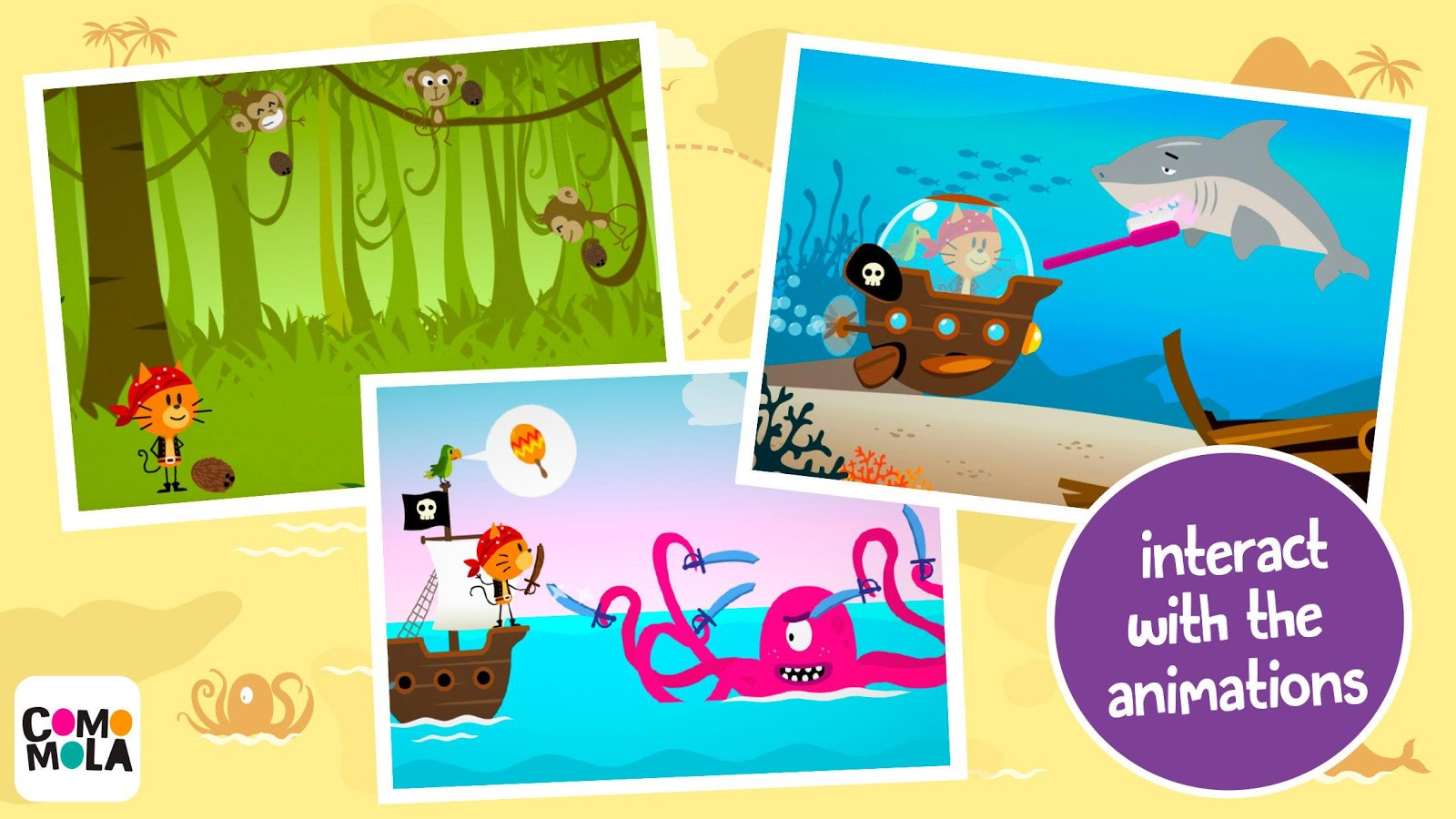 Comomola Pirates: App for kids- screenshot