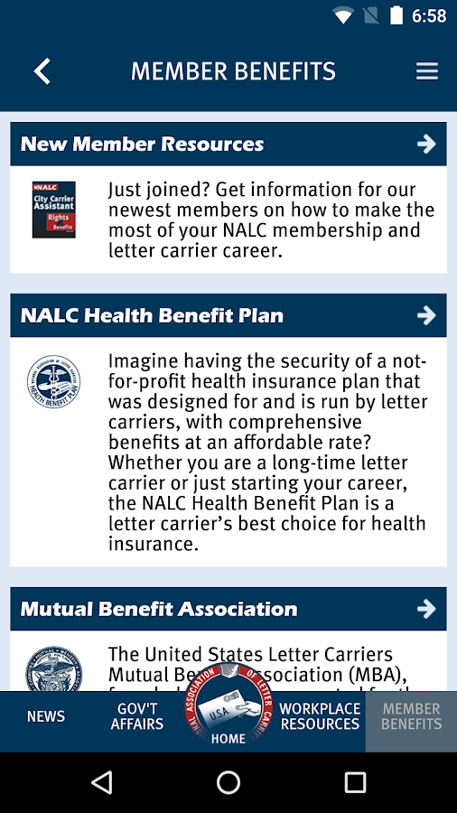nalc member app screenshot