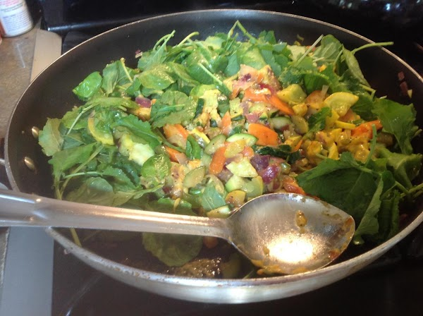 Now add in the Baby Kale, and stir to blend together. Kale will begin...