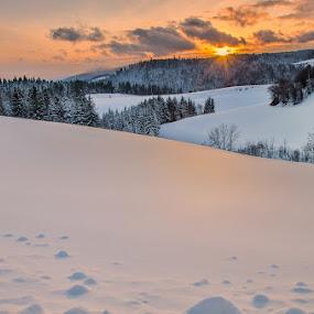 Evening light by Peter Zajfrid - Landscapes Sunsets & Sunrises ( pohorje, slovenija, sunset, slovenia, snow, light )