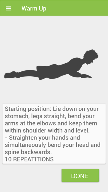 Screenshots of Stretching training for iPhone