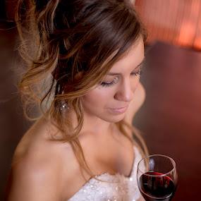 cheers by Jovan Barajevac - Wedding Bride ( love, wine, dress, wedding, glass, bride )