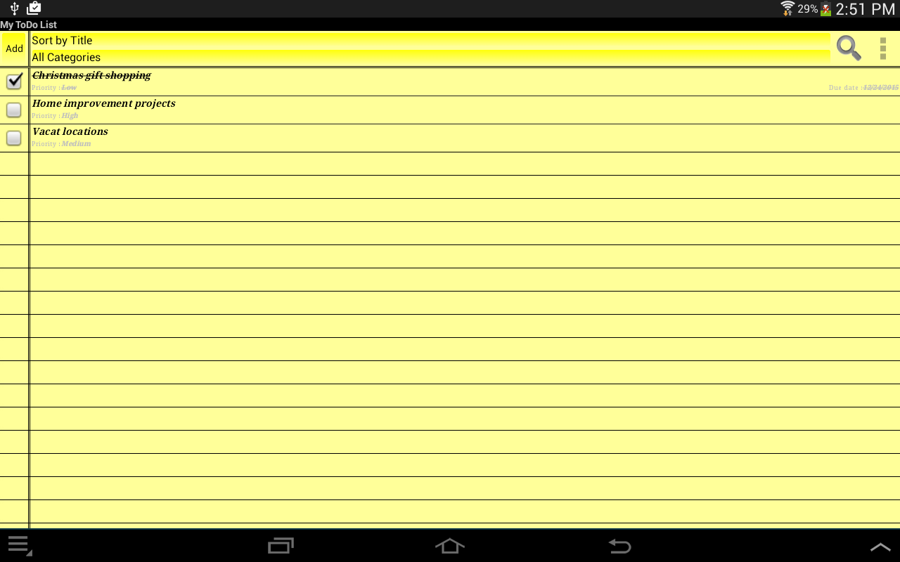 My ToDo List- screenshot