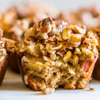 Grain Free Glazed Cinnamon Apple Streusel Muffins.