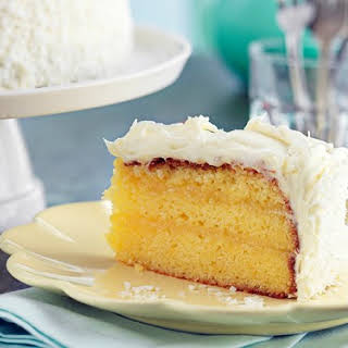Lemon Curd Cake With Coconut Frosting.